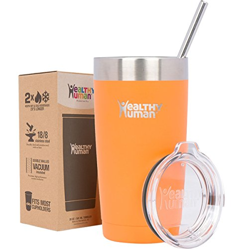 Healthy Human 20 oz Cruiser - Keeps Hot & Cold Beverages 2X's Longer. Insulated Stainless Steel Tumbler Cup with Lid & Straw. Orange Sherbet (Orange Mug With Lid compare prices)