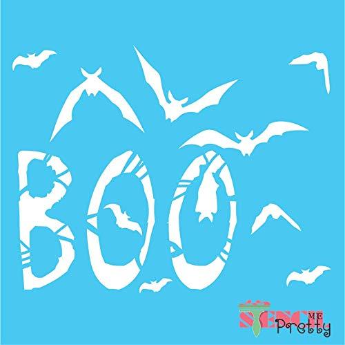 Boo Stencil with Flying Bats DIY Halloween Fall Decor - M (17