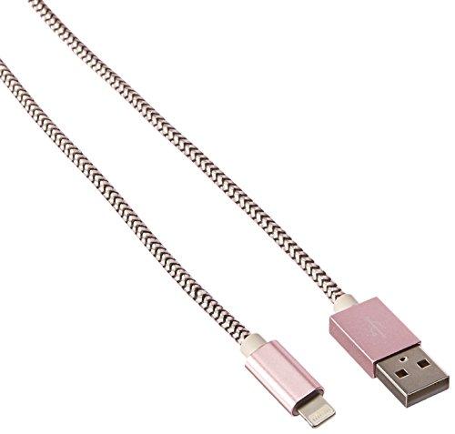Ambet KKA91601 –Cable cargador para iPhone 7/se/6S/6/5/5C/5S/Plus, iPad, iPod, 1,5 metros, Rose Gold