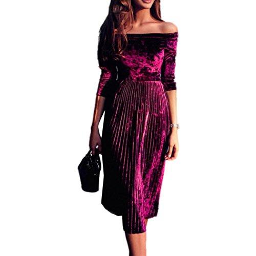 Amlaiworld Damen sommer Frühling Bootshals Samt Kleid elegant trägerlos abendkleider weich Faltenrock Hochzeit Gemütlich Kleider party Vintage Flanell Cocktailkleid Rot