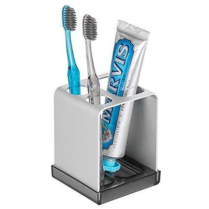 InterDesign Metro Ultra Toothbrush Holder for Bathroom, Vanity - Silver/Smoke