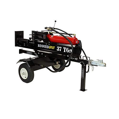 RuggedMade 37 Ton Hydraulic Gas Powered Log Splitter with Auto Return Detent Valve, 16 GPM Hydraulic Pump (301cc Electric Start)