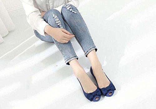 Rojo Bow Planos gelatina Zapatos Peep 41 Rosa Zapatos Negro Mujer de para Toes Azul 35 Bomba Talla Sandalias Azul 8H6qwC4g6