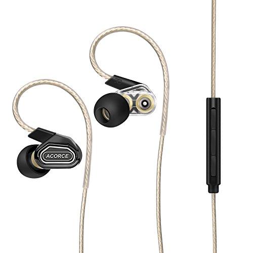 ACORCE in Ear Kopfhörer Dual Driver Headphones Stereo Ohrhörer inklusive Mikrofon und inline Fernbedienung mit 3.5mm Klinkenstecker für iPhone 6s, 6,iPad, Samsung und andere.