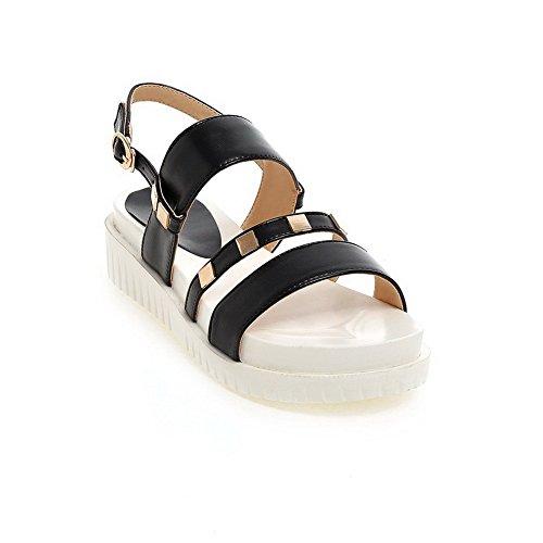 VogueZone009 Women's Kitten-Heels Soft Material Solid Buckle Open Toe Sandals Black C7bbYr