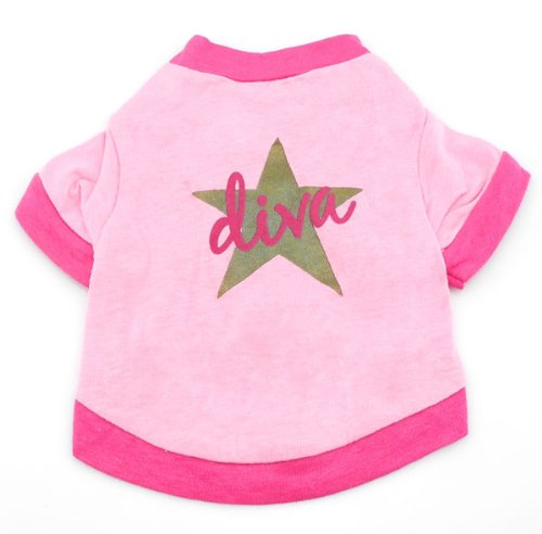 SMALLLEE_LUCKY_STORE Diva Star Shirt for Small Dogs, Small, Pink ()