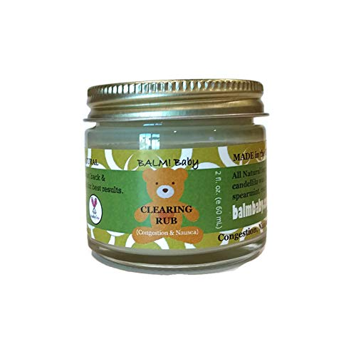 (BALM! Baby EUCALYPTUS CLEARING RUB - Natural Chest & Tummy Rub for Stuffy Noses & Chests and Nausea - 2 oz Glass Jar {Made in the USA!})