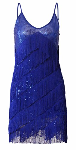 [JustinCostume 1920s Sequins Tassel Cocktail Latin Party Dress (Medium, Blue)] (Blue Flapper Dress)