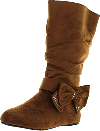 Bella-7 Little Girls JR Youth Mid Calf Tall Fux Suede Ribbon