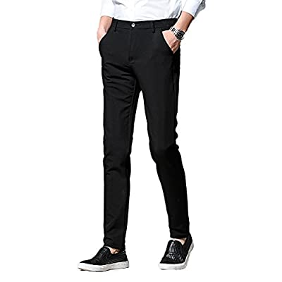 NiuZi Men Casual Pants Slim Fit Stretchy Business Trousers(Black) for sale