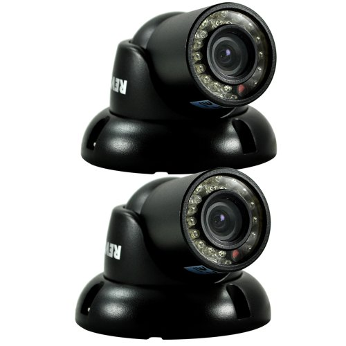 REVO America RCTS30-3BNDL2 700 TVL Indoor/Outdoor Mini Turret Surveillance Camera with 100-Feet Night Vision - 2 Pack (Black) by REVO America