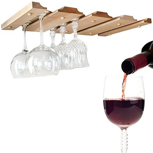 (SMITCO Wine Glass Holder - Under Cabinet Hanging Stemware Rack - Unfinished Wood Storage Hanger to Organize 12 Glasses (Double) - 11 Inches Deep x 20 Inches Wide - Made in The USA)