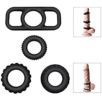 Penis Ring Set,PALOQUETH Premium Stretchy Silicone Cock Rings Set for Men Longer Harder Stronger Erection (1 Pkg / 4 Rings)