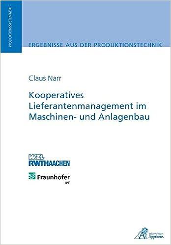 Book Kooperatives Lieferantenmanagement im Maschinen- und Anlagenbau