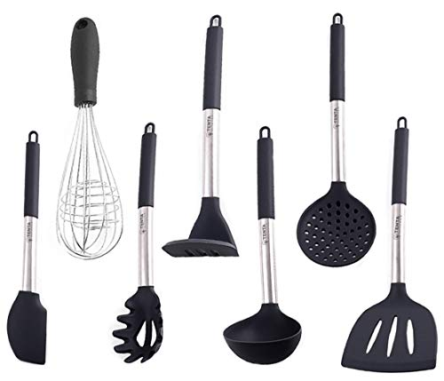 Kitchen Utensil Set-7 Piece Non-Stick Cooking Utensil-Silicone + Nylon Core & Stainless Steel Safe for Pots & Pans Serving turner, Pasta Server,Ladle,Strainer,Whisk,Potato Masher, Batter