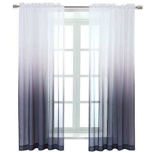 Selectex Linen Look Ombre Sheer Curtains - Rod Pocket Voile Curtains for Living and Bedroom, Set of 2 Curtain Panels (52 x 84 inch, Gray)