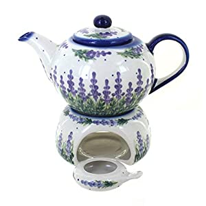 Blue Rose Polish Pottery Lavender Fields Teapot with Warmer & Candle Holder