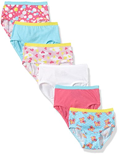 Fruit of the Loom Little Girls' Wardrobe Brief (Pack Of Six), Assorted, 2T/3T (Size 2t Underwear)