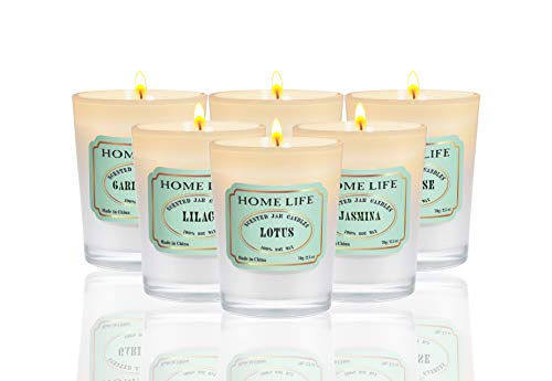 Fragrant Home Brand Scented Candles Gift Set - (6 x 2.5 Oz / 70g) - 6PCS of Different scents (Lotus,Gardenia,Vanilla,Lilac,Rose,Jasmine) 100% Soy Wax, Frosted Surface Finishing