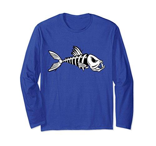 Sleeve Fishing Shirt Cotton Long (Unisex Fish Skeleton Fishing Long Sleeve T Shirt 2XL Royal Blue)