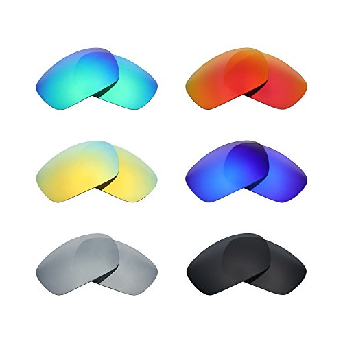 Mryok 6 Pair Polarized Replacement Lenses for Oakley Jawbone Sunglass - Stealth Black/Fire Red/Ice Blue/Silver Titanium/Emerald Green/24K - Black Oakley Jawbone