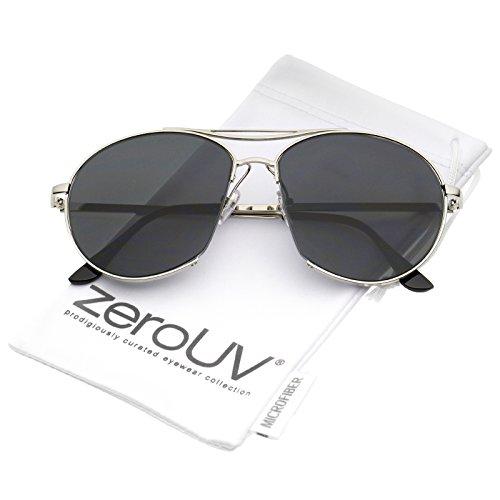 Oversize Semi-Rimless Brow Bar Round Flat Lens Aviator Sunglasses 59mm ()