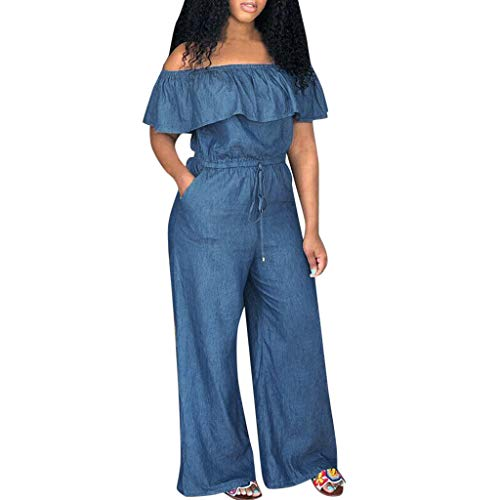 LISTHA Womens Long Jumpsuit Romper Playsuit Elastic Demin Jeans Casual ()