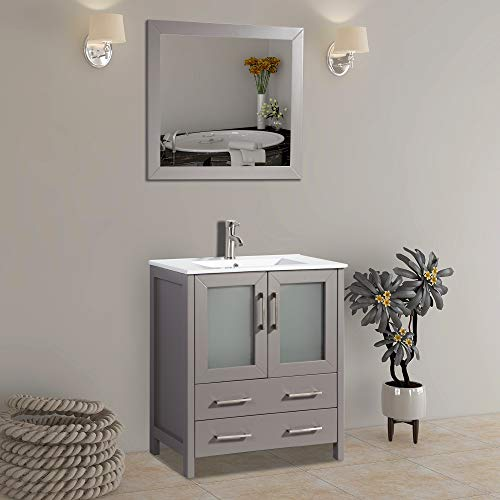 Vanity Art 30 inch Single Sink Bathroom Vanity Set Free Mirror - Compact 2 Door, 2 Drawer with White Ceramic Top | Perfect Bathroom Organizer (Gray) - VA3030-G