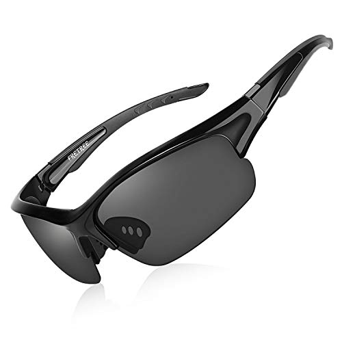 FRETREE Polarized Sports Sunglasses - UV400 Protection Tr 90 Unbreakable Frame Adjustable Nose Pad Glasses for Men Women Cycling, Driving, Running, Fishing, Beach Volleyball, Golf, Black (For Sunglasses Sports Men)