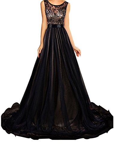 Christmas DH-MS Dress Women's Sheer Lace Mesh Overlay Black Queen Party Gown M (Abba Fancy Dress Outfits)