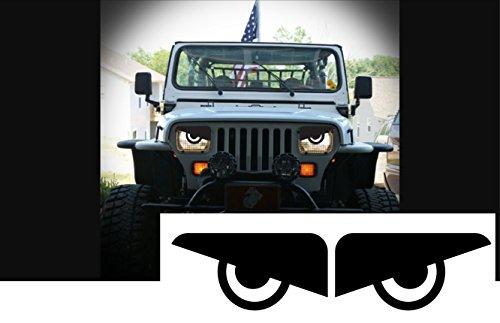 1987-1995 Jeep Wrangler Angry Eyes Headlight decal (Translucent Headlight Decal)