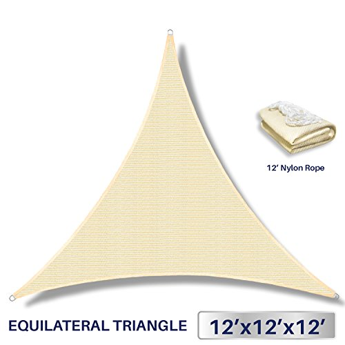 12' x 12' x 12' Sun Shade Sail UV Block Fabric Canopy in Beige Sand Triangle for Patio Garden Patio Customized Sizes Available (3 Year - Shades Customized