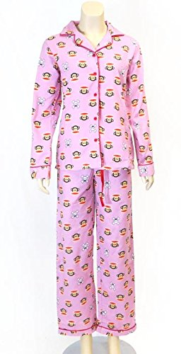Paul Frank Collared Buttondown Shirt Pajama Set Pink (XL)