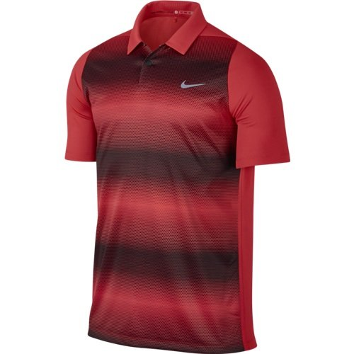 Tiger Woods Nike (Nike Tiger Woods VL Max Sphere Stripe Golf Polo 2016 Light Crimson/Black/Reflective Silv Large)