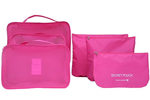 6 sets travel Organizers Packing Cubes Luggage Organizers Compression Pouches(Rose) (Suitcase Pink Hot)