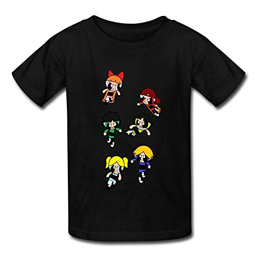 Crew Neck Powerpuff Rowdyruff Cool Kids Boys And Girls T Shirts Black Size M (Rowdyruff Boys)
