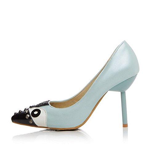Spitz Ziehen auf Pumps Tier Stiletto Schuhe Stoffdruck AgooLar Zehe Blau Damen IqYw11