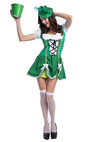 Womens Oktoberfest Costume Bar Maid Servant Cosplay Costume Dresss Green Medium