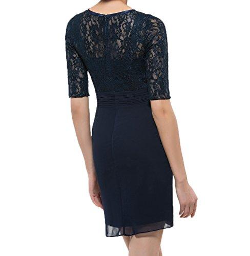 Damen Etuikleider Blau Dunkel Ballkleider Brautmutterkleider Mini Kurz Partykleider Charmant Abendkleider Spitze Royal Festlichkleider aF6w6