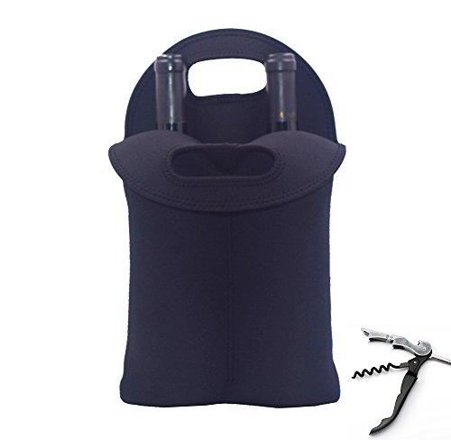 - Neoprene Two Bottle Wine Tote Bag Carrier Holder Cooler Sleeve for Champagne/Wine/Beer/Soda/Cider Bottle (1, Black)