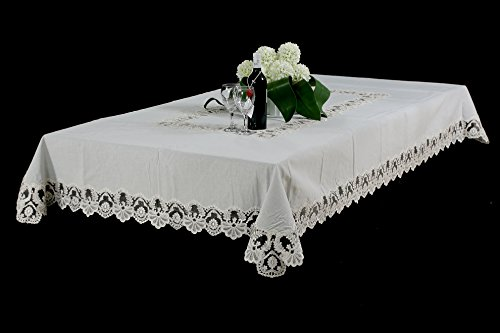 - Upstate Home Designs Scroll White Linen Tablecloth with Lace Border (60