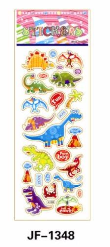 TY0009-2(JF-1348) Dinosaur Stickers, Soft Vinyl Plastic, Kids Sticker, 2 Sheets Combo Deal