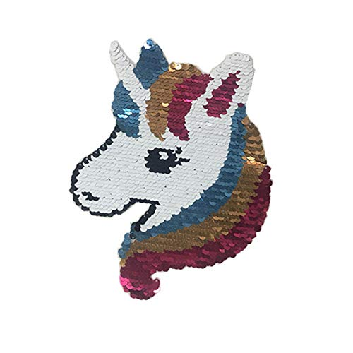 - Unicorn Reversible Change Color Sequin Sew on Patch Colorful Horse Patch for Clothes Jeans Jackets Bags DIY Handmade Crafts