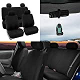 6 hr air freshener - FH Group Striking Striped Seat Covers Airbag & Split Ready w. Free Air Freshener, Solid Black Color- Fit Most Car, Truck, SUV, or Van