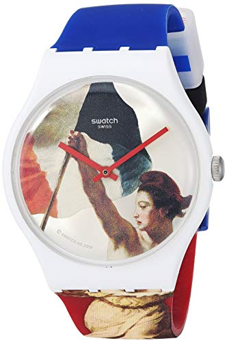 Swatch Louvre Special Quartz Silicone Strap, Blue, 20 Casual Watch (Model: SUOZ316)
