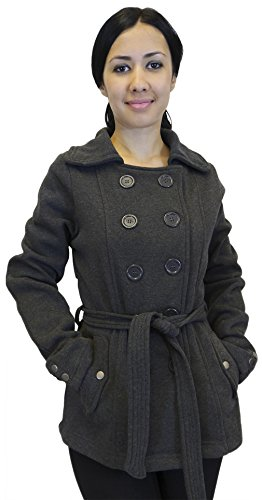 Roma Collection Women's Jacket Coat Wrap Large Buttons Matching Belt, Charcoal, Medium - Womens Roma Jacket
