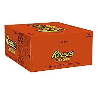 REESE'S Pieces Halloween Candy, Peanut Butter Candy, 1.5 Ounce (Pack of 18)