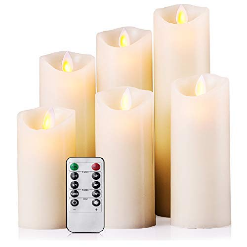 Flameless Candles Battery Operated Candles 4'' 5'' 6'' 7'' 8'' 9'' Set of 6 Ivory Real Wax Pillar LED Candles with Dancing Flame with 10-key Remote and Cycling 24 Hours Timer