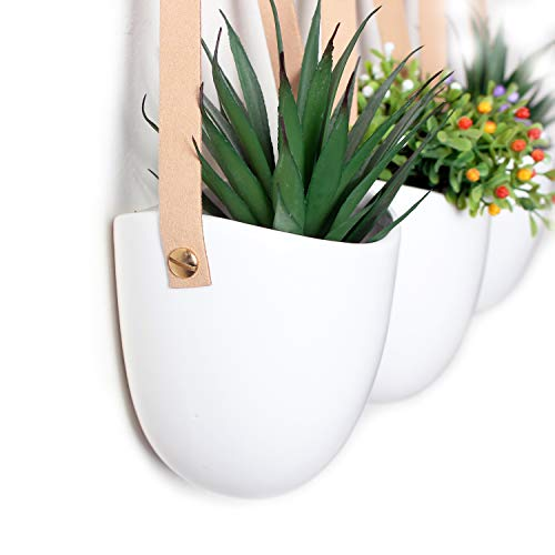 Soonow Ceramic Wall Hanging Planter for Indoor Succulent Plants with Hooks, White, Set of 3