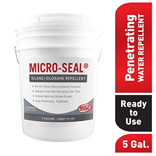 Rain Guard Water Sealers CR-0357 Micro-Seal Ready to USE Sealer Covering Up to 1500 Sq. Ft. on All Masonry Surfaces. 5 Gallon Clear Penetrating Silane and Siloxane Professional Grade.